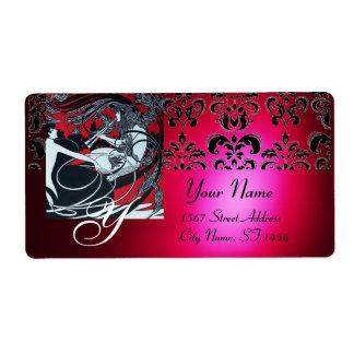 ART NOUVEAU RED BLACK GOLD DAMASK MONOGRAM ,ruby Shipping Label