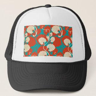 art nouveau, red,blue,beige,floral,belle époque, trucker hat