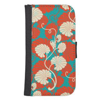 art nouveau, red,blue,beige,floral,belle époque,vi samsung s4 wallet case