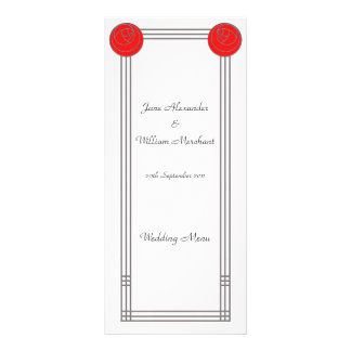 Art Nouveau Red Rose Frame Wedding Menu
