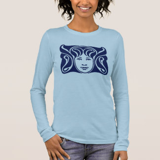 Art Nouveau Roman goddess female face blue Long Sleeve T-Shirt