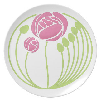Art Nouveau Rose in the Style of Rennie Mackintosh Plate