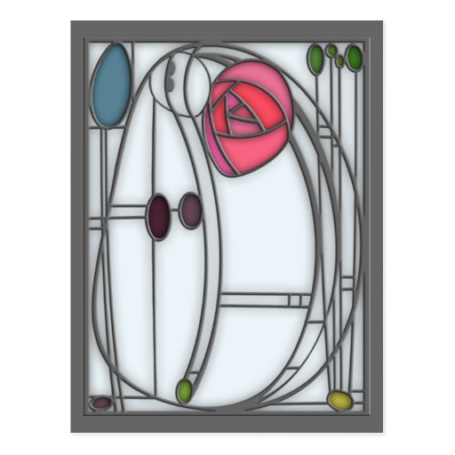 Art Nouveau Roses Design in Stained Glass Effect Postcards
