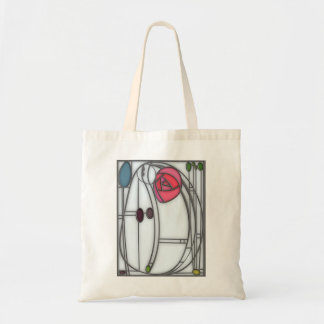 Art Nouveau Roses Design in Stained Glass Effect Tote Bag