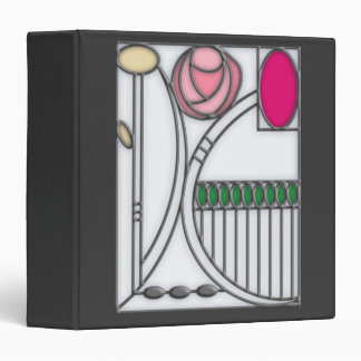 Art Nouveau Roses Design in Stained Glass Effect Vinyl Binder