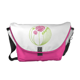 Art Nouveau Roses Motif in Pink and Green Messenger Bag
