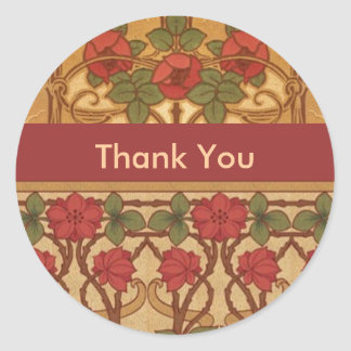 Art Nouveau RosesThank You Classic Round Sticker