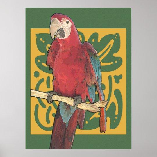 Art Nouveau Scarlet Parrot Poster