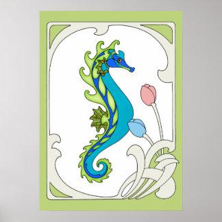 Art Nouveau Seahorse Poster