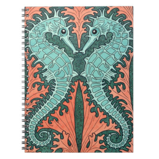 Art Nouveau Seahorses Spiral Notebook