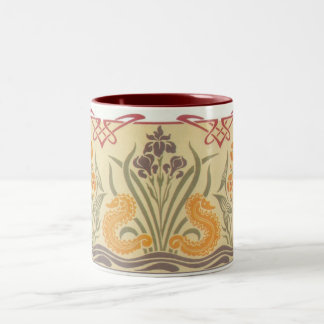 Art Nouveau Seahorses Two-Tone Coffee Mug