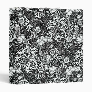 Art Nouveau Seaweed Floral, Black and White 3 Ring Binders