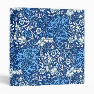 Art Nouveau Seaweed Floral, Cobalt Blue and White Binder