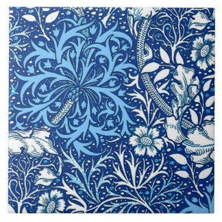 Art Nouveau Seaweed Floral, Cobalt Blue and White Tile