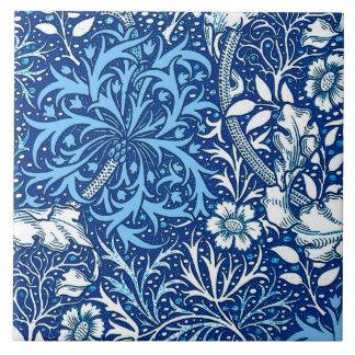 Art Nouveau Seaweed Floral, Cobalt Blue and White Tiles