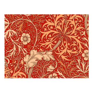 Art Nouveau Seaweed Floral, Deep Coral Orange Postcard