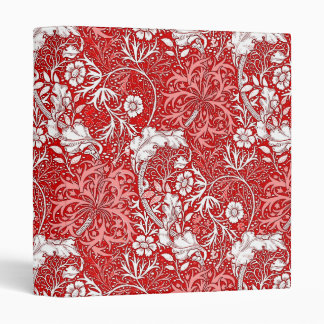 Art Nouveau Seaweed Floral, Deep Red and White Binder