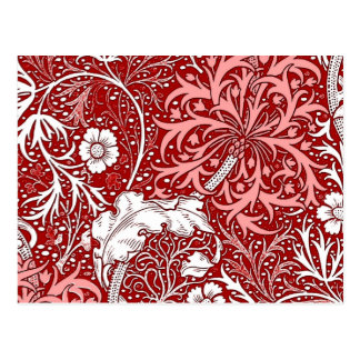 Art Nouveau Seaweed Floral, Deep Red and White Postcard