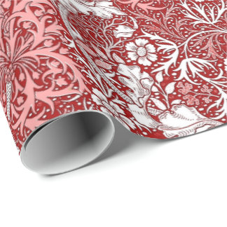 Art Nouveau Seaweed Floral, Deep Red and White Wrapping Paper