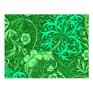 Art Nouveau Seaweed Floral, Emerald Green Postcard