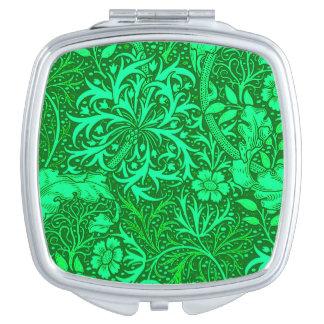 Art Nouveau Seaweed Floral, Emerald Green Travel Mirror