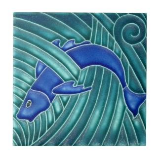 Art Nouveau - Single Blue Fish Tile