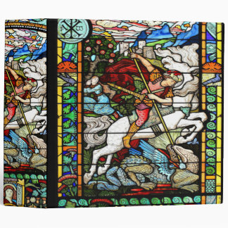 Art Nouveau St George Dragon Vintage Horse 3 Ring Binder