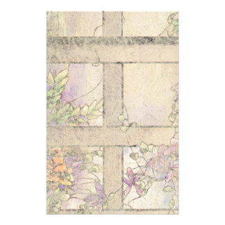 Art Nouveau Stained Glass Clematis Flowers Floral Stationery Paper