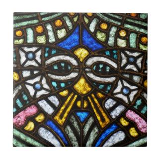 Art Nouveau stained glass face Tile