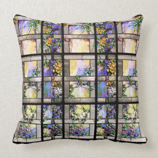 Art Nouveau Stained Glass Flowers Throw Pillow