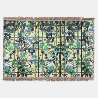 Art Nouveau Stained Glass Grapevine Throw Blanket