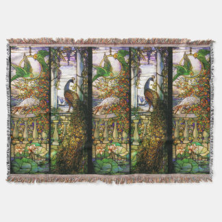 Art Nouveau Stained Glass Peacock Throw Blanket