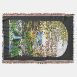 Art Nouveau Stained Glass Waterfall Throw Blanket