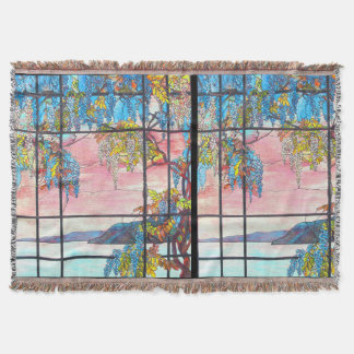 Art Nouveau Stained Glass Wisteria Throw Blanket