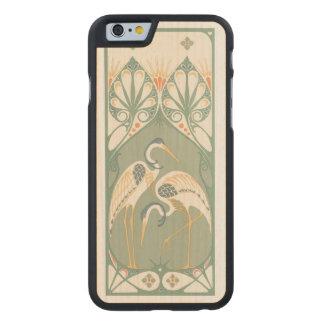 Art Nouveau Storks Carved Maple iPhone 6 Case