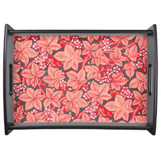 Art Nouveau Strawberries and Leaves, Coral Orange Serving Tray