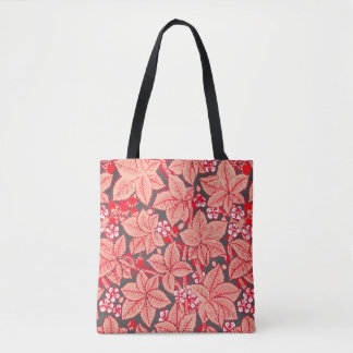 Art Nouveau Strawberries and Leaves, Coral Orange Tote Bag