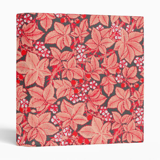 Art Nouveau Strawberries and Leaves, Coral Orange Vinyl Binder