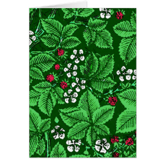 Art Nouveau Strawberries and Leaves, Emerald Green Card