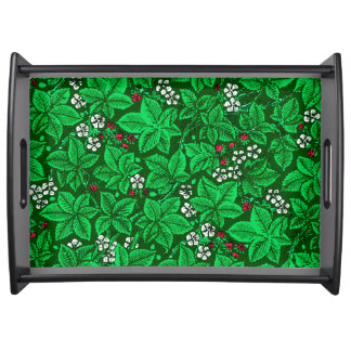 Art Nouveau Strawberries and Leaves, Emerald Green Serving Tray