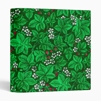 Art Nouveau Strawberries and Leaves, Emerald Green Vinyl Binder