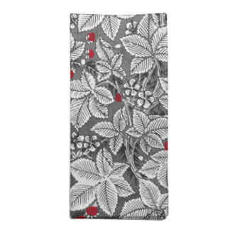 Art Nouveau Strawberries and Leaves, Gray & White Napkin