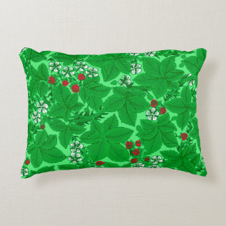 Art Nouveau Strawberries and Leaves, Lime Green Decorative Pillow