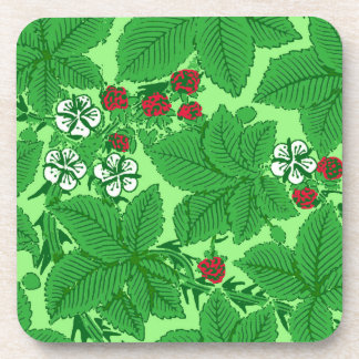 Art Nouveau Strawberries and Leaves, Lime Green Drink Coasters