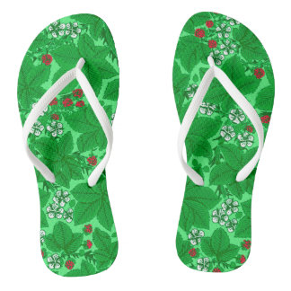 Art Nouveau Strawberries and Leaves, Lime Green Flip Flops
