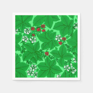 Art Nouveau Strawberries and Leaves, Lime Green Paper Napkin