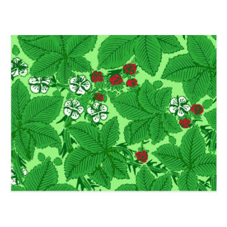 Art Nouveau Strawberries and Leaves, Lime Green Postcard