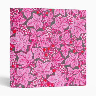 Art Nouveau Strawberries and Leaves, Pink and Gray 3 Ring Binder