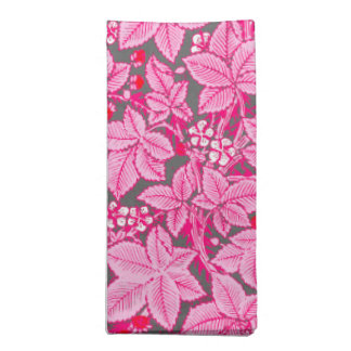 Art Nouveau Strawberries and Leaves, Pink and Gray Napkin