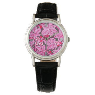 Art Nouveau Strawberries and Leaves, Pink and Gray Watch